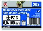 PZ3 Multi Purpose Screws 6.0x100mm, 20 pieces