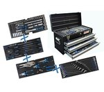Metal toolbox 3 drawers with 143 tools