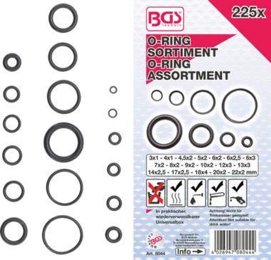 O-Ring Assortment diameter 3 - 22 mm 225 pcs
