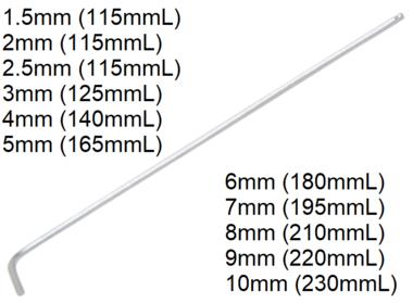 L-Type Wrench extra long internal Hexagon / internal Hexagon with Ball Head