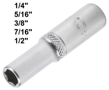 Socket, Hexagon, deep 6.3 mm (1/4) drive