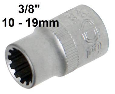 Socket, Gear Lock (3/8) Drive 10-19mm