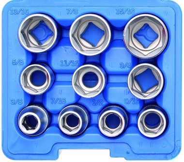 Socket Set, Hexagon 12.5 mm (1/2) drive Inch sizes 10 pcs.