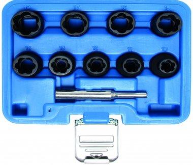 10-piece Special Twist Socket Set, 10-19 mm, 1/2 Drive