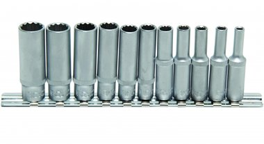 11-piece Deep Socket Set, 12-pt, 1/4