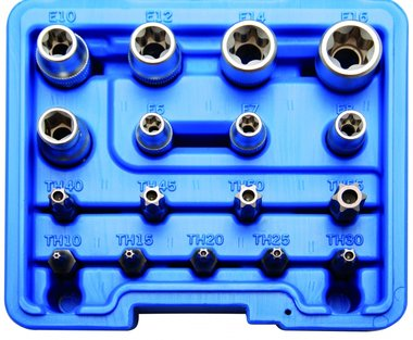 Bit and Socket Set | E-Type / T-Star (for Torx) | 17 pcs.