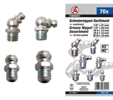 70-piece Grease Fitting Assortment, Metric / Inch