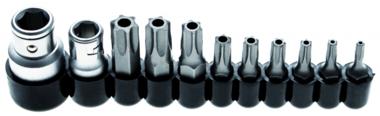 Bit Set | 10 mm (1/4) / 10 mm (3/8) drive | T-Star tamperproof (for Torx) | 11 pcs.
