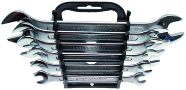 6-piece Open End Spanner Set, in Accordance with DIN 3110, 6x7-17x19 mm