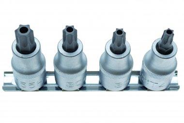 4-piece T-Star Bit Socket Set, tamperproof, T40-T55, 12.5 (1/2)