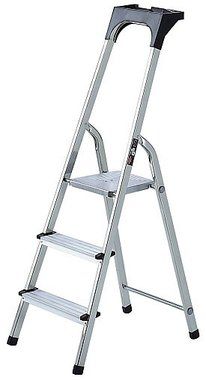 Aluminium household ladder with tool tray 3 rungs Platform height 0.54m