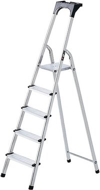 Aluminium household ladder with tool tray 8 rungs Platform height 1.62m