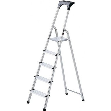Aluminium household ladder with tool tray 6 rungs Platform height 1.19m