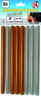 8-piece Metallic Glue Sticks gold/silver, 11 mm