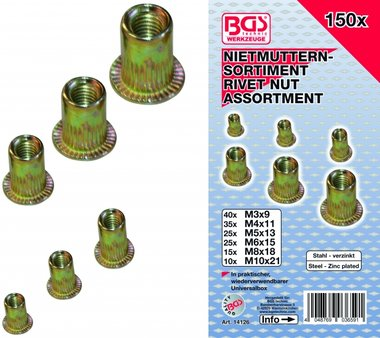150-piece Rivet Nuts Assortment, galvanized steel