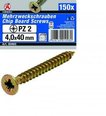 Multi Purpose Screws 4.0 x 40 mm, 150 pieces