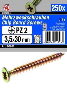 Multi Purpose Screws 3.5 x 30 mm, 250 pieces