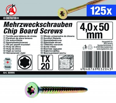 Multi-Purpose Screws, 4.0 x 50 mm, T20, 125 pieces