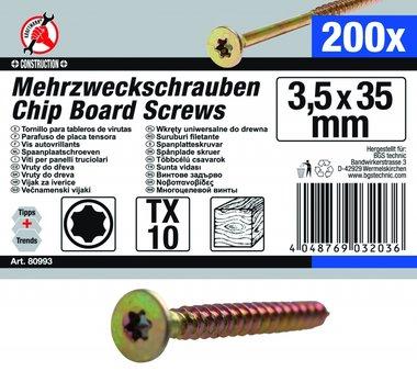 Multi-Purpose Screws, 3.5 x 35 mm, T10, 200 pieces