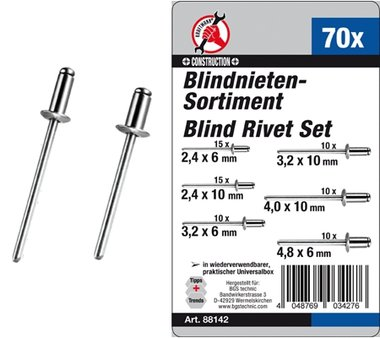 70-piece Blind Rivets Assortment