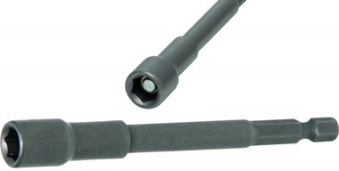 Socket, extra long, with 6-pt. Drill Shaft, 8 mm