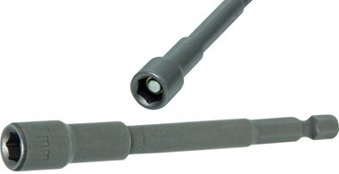 Socket, extra long, with 6-pt. Drill Shaft, 7 mm