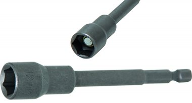 Socket, extra long, with 6-pt. Drill Shaft, 12 mm