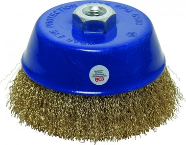 Wire Cup Brush M14x2, Ø 125 x Height 75 mm, brass plated