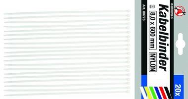 20-piece Cable Tie Set 8.0 x 600 mm