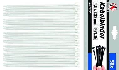 50-piece Cable Tie Set, 4.8 x 250 mm