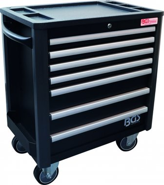 7-Drawer Workshop Trolley PRO, empty, low total height