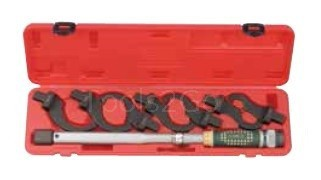Head-interchangeable torque wrench & spanner set 8pc