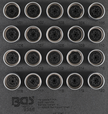 Rim Lock Socket Set for Opel, Vauxhall (Version A)  20 pcs.