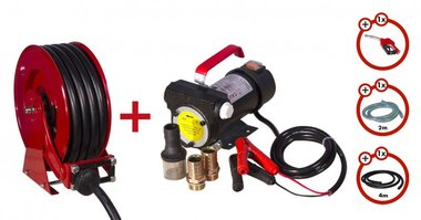 Diesel pump 24V + roll-up reel + pump set