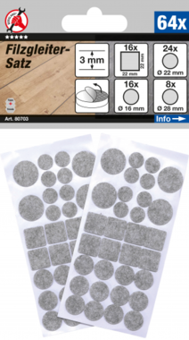 Felt Pads Set  tinged with gray  64 pcs.