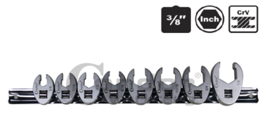 Crow Foot Wrench Set, 8 pcs., 3/8, inch 3/8-7/8