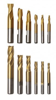 Set of 12 end mills 2 and 4 flute in alu box