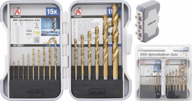 HSS Drills Set titanium nitrated 1.5 - 10 mm 15 pcs.