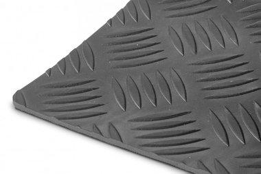 Rubber per running meter 1mx1200mmx3mm black checker plate