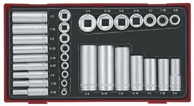 Cap set tc-tray 32-piece AF 1/4+3/8 short length