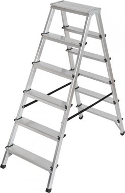 Double stepladder aluminium 2x6 rungs Height of the rung ladder 1,25m